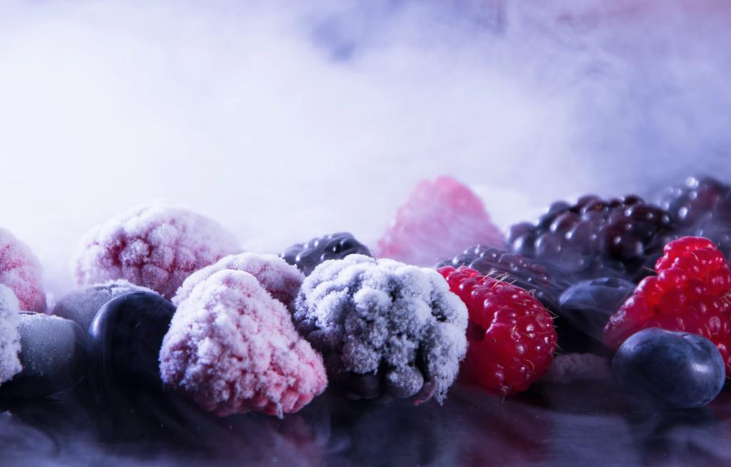 frozen blackberries, blueberries and raspberries.