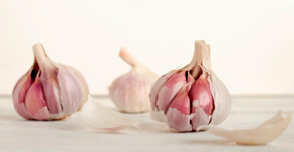 three bulbs of garlic