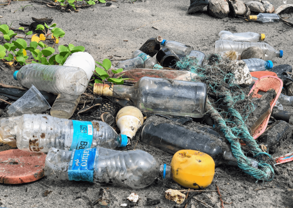 plastic bottles, glass bottles and other plastic rubbish littered on a beach.