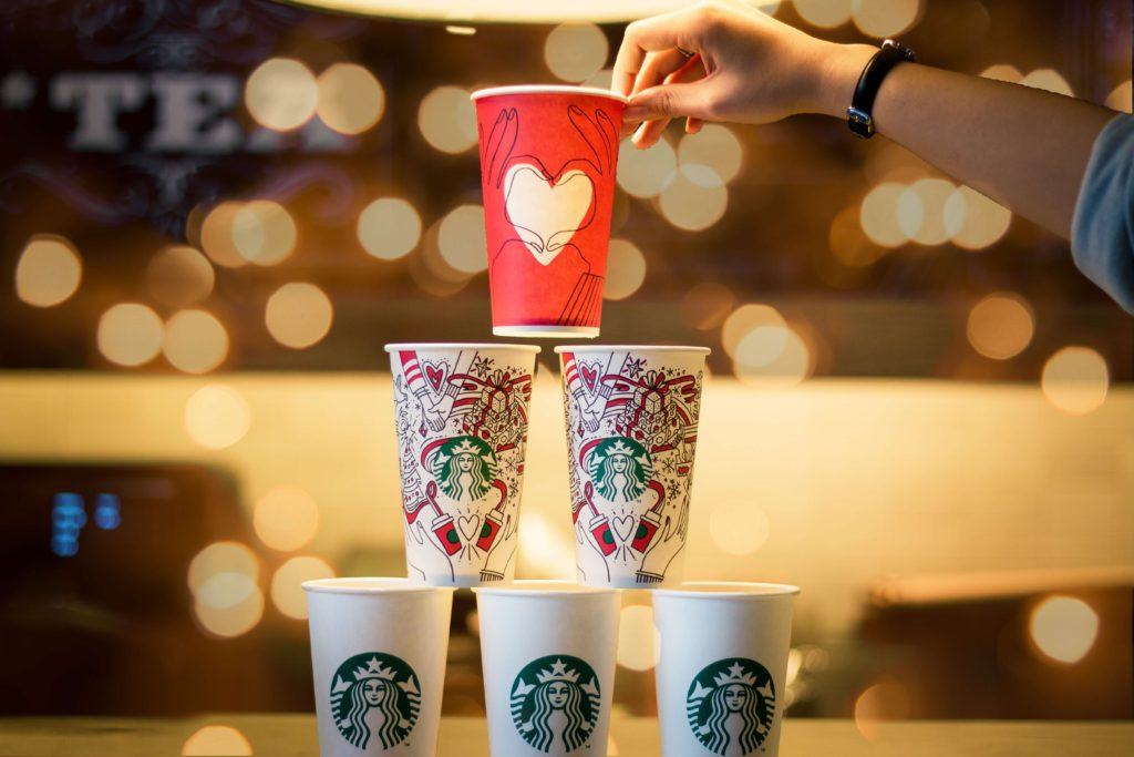 Starbucks cups stacked