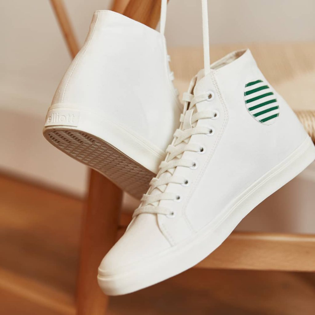 high-top recycled canvas white trainers