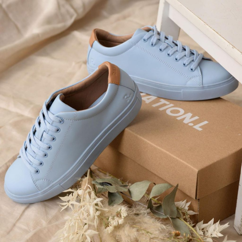 R-Kind vegan leather unisex trainers in pastel blue